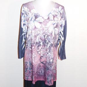 4X Liz & Me Purple Gold Sequins Floral Knit Top